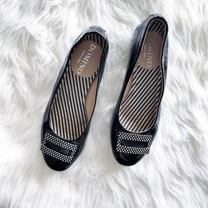 Domino Black Patent Leather Polka Dot Flats